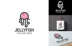 水母图形Logo商标设计模板