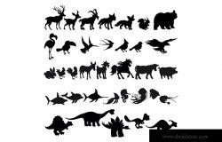 卡通动物剪影矢量插画素材 Silhouettes of Cartoon Animals