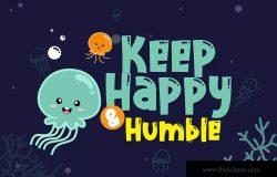 可爱水母体英文装饰无衬线字体下载 Cute Jellyfish