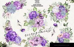 紫罗兰水彩花卉设计插画素材 Ultra violet watercolor design