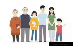 快乐中国家庭卡通人物矢量插画素材 Happy Chinese family – cartoon people characters