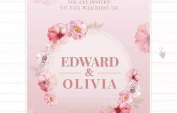 手绘水彩花卉婚礼请柬设计模板 Floral Hand-drawn Watercolor Wedding Invitation