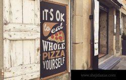 街头店铺广告牌设计效果图样机模板 Street Signboard Mockup