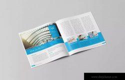 信息科技企业公司画册设计模板素材 Blue Corporate Square Brochure