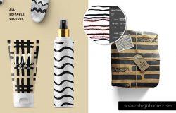 黑白线型笔刷 Black & White Brushed Lines Patterns