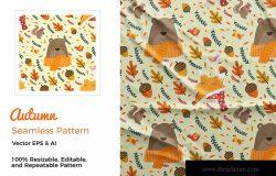 秋天元素手绘图案纹理素材 Autumn Pattern