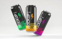 光泽的能量饮料苏打水易拉罐包装设计样机集