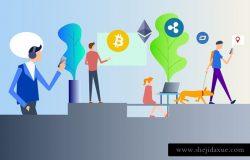 时尚高端2D区块链blockchain比特币banner海报插画元素