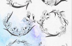 精致手绘花朵装饰元素设计插画