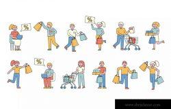 购物狂人人物形象线条艺术矢量插画素材 Shoppers Lineart People Character Collection