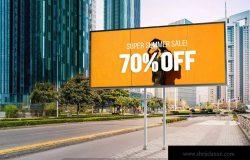 户外公路大型广告牌广告设计展示效果图样机 Advertising Billboard Mockup