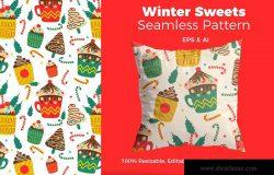 圣诞节主题甜点手绘图案背景素材 Christmas Sweets Pattern