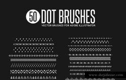 50款矢量绘画装饰元素图案AI笔刷 50 Vector Dot Brushes