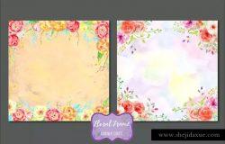 水彩花卉装饰架图案插画素材 Watercolor Floral Frames