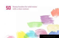 50个手工水彩笔刷笔触图形PS笔刷#1 Watercolor Brush Set