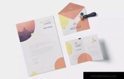 品牌VI体系设计方案办公用品预览图样机模板 5 Stationery Design Mockups
