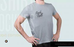 4K分辨率男士T恤版式印花设计样机模板 T-Shirt Mockup