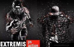 烟雾/玻璃和颗粒燃烧照片动感特效PS动作 Coal Extremis Photoshop Action