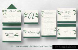 简约装饰婚礼邀请函模板 Classy Tropical Wedding Suite