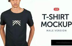 男士标准款T恤服装设计样机模板