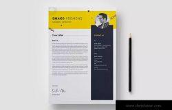 两列排版风格个人求职简历&推荐信二合一模板 Resume Template 40