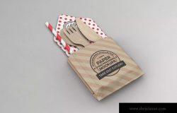 一次性外卖餐具包装设计样机模板 Takeout Cutlery Mockup