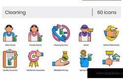 60枚家政清洁服务主题矢量图标素材 60 Cleaning Icons | Contempo Series