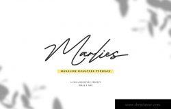 Monoline风格英文钢笔签名字体 Marlies Monoline Signature