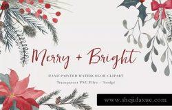 圣诞节主题水彩花卉剪贴画素材 Christmas Watercolor Clipart