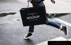 促销广告购物袋纸袋样机 Sale advertisement designs Mockup