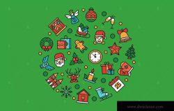 圣诞节符号图标组合圆形矢量设计素材 Christmas symbols – linear illustration