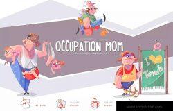 职业妈妈手绘卡通形象设计PNG素材 Occupation Mom