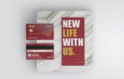 顶视图信用卡效果图展示样机