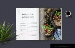高端美食杂志排版设计模板 Food Magazine Template