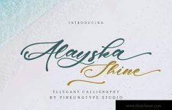 优雅书法风格英文连体字体 Alayska