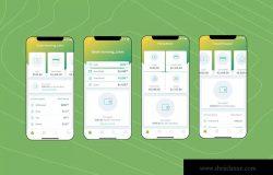 电子钱包APP应用用户中心UI界面模板[绿色配色方案]v5 Mobile Finance Home Ui – FD