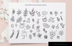 秋季花卉元素手绘线条画矢量插画素材 Monoline vector autumn floral elements
