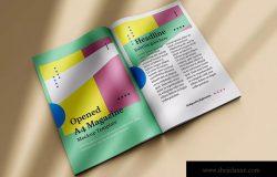 A4尺寸杂志内页排版设计展示图样机 Opened A4 Magazine Mock-up