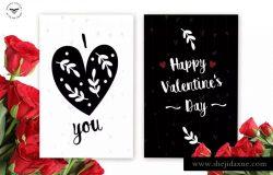 黑白极简设计风格情人节主题贺卡PSD模板 Valentines Day Greeting Card Template