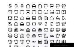 80枚极简主义服装设计主题线框图标素材 80 Clothing icon set – Material ZZH / 2019.7.23 图标  37  2  0