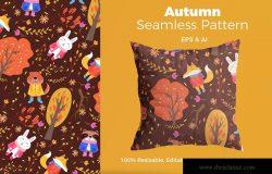 秋季动物手绘图案纹样背景素材 Autumn Animasl Pattern