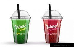 塑料果汁杯外观设计样机模板 Plastic Juice Cup Mock-Up