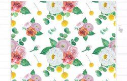 水彩手绘花卉图案设计素材 Floral pattern hand-drawn watercolor illustration