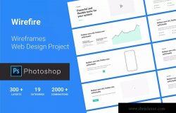 网站设计项目必备网站设计线框图PSD模板 Wireframe Web Design Project 300++ PSD Version