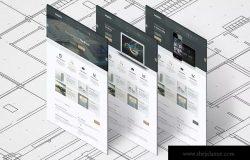 A4传单印刷效果图等距网格样机模板 Isometric A4 Paper Mockup