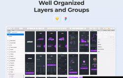 紫色配色方案拟物风格时尚APP应用UI设计套件