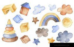 儿童主题动物水彩生日派对剪贴画/卡片/图案素材包