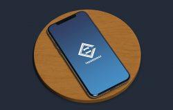 圆木板iPhone手机双视角屏幕演示样机