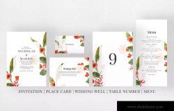水彩花卉背景婚礼邀请函设计模板 Watercolor Floral Wedding Suite