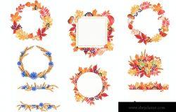 秋季五彩缤纷森林动物水彩画元素集